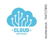 cloud technology logo  simple... | Shutterstock .eps vector #744717892