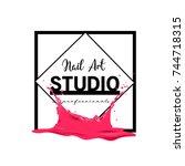 nail art studio logo design... | Shutterstock .eps vector #744718315