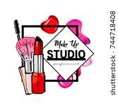 makeup studio logo design...   Shutterstock .eps vector #744718408