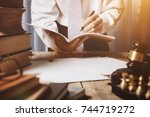 the private office of an asian... | Shutterstock . vector #744719272