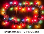 christmas light bulbs were...   Shutterstock . vector #744720556