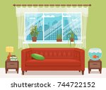 living room cozy interior with... | Shutterstock .eps vector #744722152