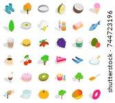 vegetarian icons set. isometric ...