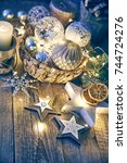 christmas card with decoration...   Shutterstock . vector #744724276