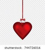 christmas heart shape ornament... | Shutterstock .eps vector #744726016