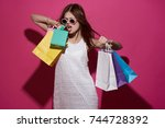 stylish woman on shopping