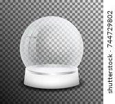 christmas glass snow ball... | Shutterstock .eps vector #744729802