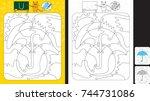 worksheet for practicing letter ... | Shutterstock .eps vector #744731086