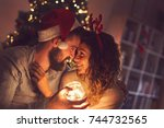 beautiful couple in love... | Shutterstock . vector #744732565
