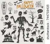 halloween design elements  | Shutterstock .eps vector #744733435