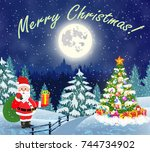 christmas landscape with... | Shutterstock .eps vector #744734902