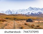 traditional altai building... | Shutterstock . vector #744737095
