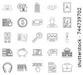 city man icons set. outline set ... | Shutterstock . vector #744739702