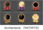 set of award rosette and gold... | Shutterstock .eps vector #744739732