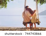 romantic holidays for two ... | Shutterstock . vector #744743866
