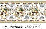 seamless pattern  rim  border... | Shutterstock . vector #744747436