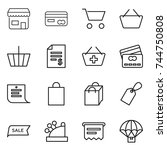 thin line icon set   shop  card ... | Shutterstock .eps vector #744750808