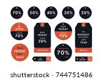 black friday price red stickers ... | Shutterstock .eps vector #744751486