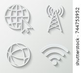 internet and wi fi icons  ... | Shutterstock .eps vector #744753952