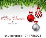 merry christmas and happy new... | Shutterstock .eps vector #744756025