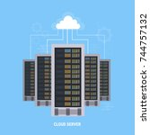 data center cloud connection... | Shutterstock .eps vector #744757132