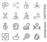 thin line icon set   brain ...   Shutterstock .eps vector #744757552