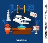 museum exposits decorative... | Shutterstock .eps vector #744758236