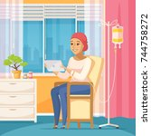 oncology patient flat... | Shutterstock .eps vector #744758272