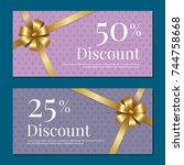 discount on 50 25 percent set... | Shutterstock .eps vector #744758668