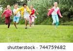 company of happy kids are... | Shutterstock . vector #744759682