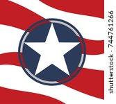 us sunbeams flag star. an... | Shutterstock .eps vector #744761266