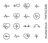 simple collection of cardiogram ... | Shutterstock .eps vector #744761368
