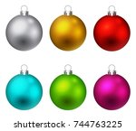 colorful christmas ball  | Shutterstock . vector #744763225