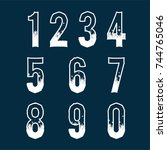 snowy numbers set  | Shutterstock .eps vector #744765046