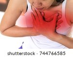heart burn or pericarditis... | Shutterstock . vector #744766585
