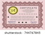 red classic certificate...   Shutterstock .eps vector #744767845