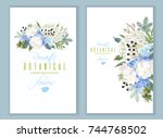 Stock vector vector floral banners with blue hydrangea tulip flowers conifer branches on white romantic 744768502