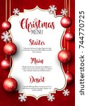 christmas menu with snowflake... | Shutterstock .eps vector #744770725