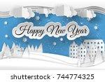 creative happy new year 2019... | Shutterstock .eps vector #744774325
