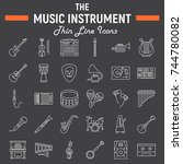 music instruments line icon set ... | Shutterstock .eps vector #744780082