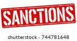 sanctions grunge rubber stamp... | Shutterstock .eps vector #744781648