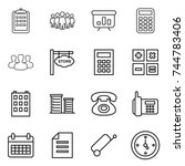 thin line icon set   clipboard  ... | Shutterstock .eps vector #744783406