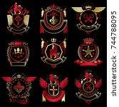 collection of vector heraldic... | Shutterstock .eps vector #744788095