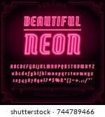 bright neon alphabet letters ... | Shutterstock . vector #744789466