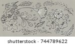 flowers and herbs pattern...   Shutterstock . vector #744789622