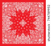 vector ornament paisley bandana ... | Shutterstock .eps vector #744789952