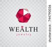 vector elegant sparkling gem....   Shutterstock .eps vector #744790036