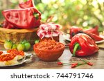 table full of delicious... | Shutterstock . vector #744791746