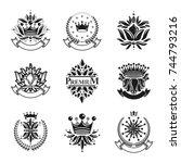 flowers  royal symbols  floral... | Shutterstock .eps vector #744793216