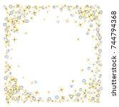 star falling print. gold yellow ... | Shutterstock .eps vector #744794368